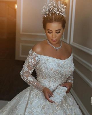 Luxus Shiny Crystal Appliques Ballkleid Brautkleider | Off The Shoulder Langarm-Brautkleider_3