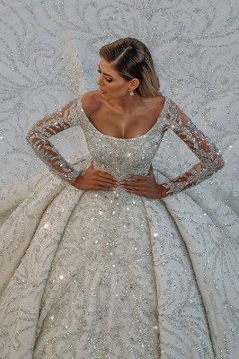 Square neck Lace Ball Gown Long sleeves Wedding Dresses_1