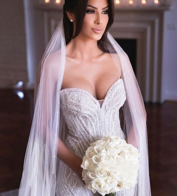 Querida sem alças Missangas Vestidos de noiva sereia | Apliques de Tule Vestidos de Noiva_2
