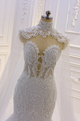 Vestido de novia de sirena de tul de cuello alto con apliques de encaje 3D de lujo_3