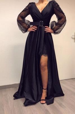 Lange Ärmel Schwarze Abendkleider mit hohem V-Ausschnitt und hohen geteilten Bishop-Ärmeln_1