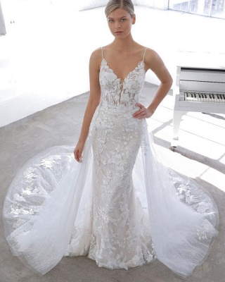 Spaghetti Strap See-through Lace Column Long Wedding dress with Tulle Overskirt_3
