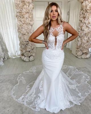 Lace Straps Mermaid Wedding Dresses | Bandage Appliques Cheap Bridal Gowns_2
