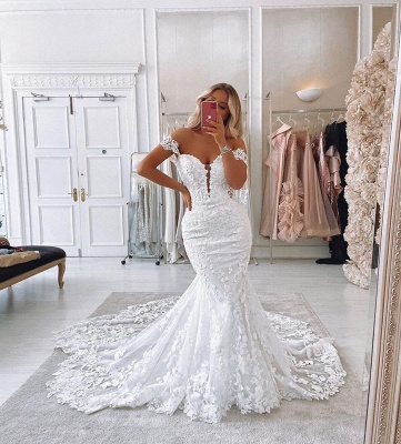 Off The Shoulder Mermaid Appliques Wedding Dresses | Lace Backless Bridal Gowns_3