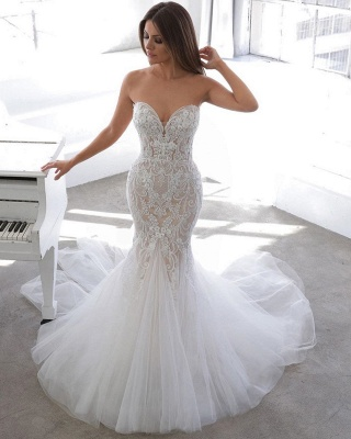 Simple Summer style White Sweetheart Mermaid Lace Wedding Dress Online_3