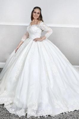 Lange Ärmel Spitze Quadratischer Hals geschwollen Ballkleid Gerichtszug Weiß Brautkleider_1