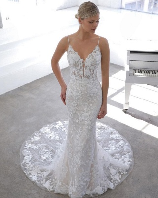 Spaghetti Strap See-through Lace Column Long Wedding dress with Tulle Overskirt_4
