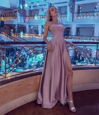 Simple Halter Backless Dusty Pink High split Long evening Dresses_4