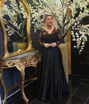 Elegantes mangas largas Vestidos de noche de encaje de satén con cuello en V negro_4