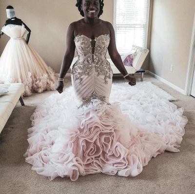 Plus Size Mermaid Crystal Lace Beads Sweetheart Long Train African Custom Made Ruffles Wedding Dresses_3