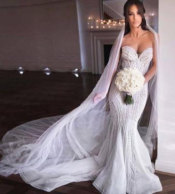 Querida sem alças Missangas Vestidos de noiva sereia | Apliques de Tule Vestidos de Noiva_3