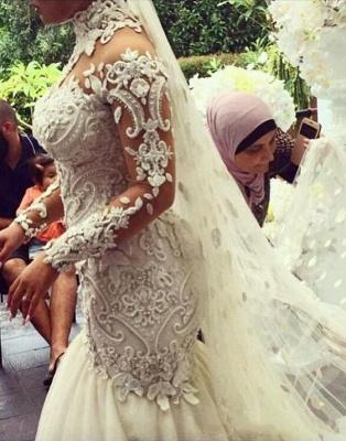 يزين الخرز الرقبة العالية فساتين الزفاف حورية البحر | محض تول أثواب الزفاف كم طويل_3