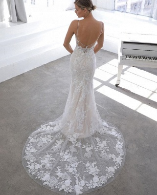 Spaghetti Strap See-through Lace Column Long Wedding dress with Tulle Overskirt_5