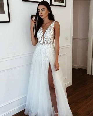 Straps V-neck Appliques A-line Wedding Dresses | Side Split Tulle Bridal Gowns_2