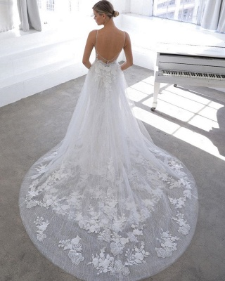 Spaghetti Strap See-through Lace Column Long Wedding dress with Tulle Overskirt_2