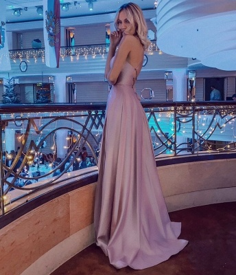 Simple Halter Backless Dusty Pink High split Long evening Dresses_3