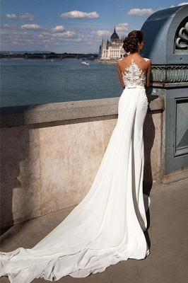 Straps Sheer Tulle Appliques Wedding Dresses | Mermaid Tulle Cheap Bridal Gowns_2