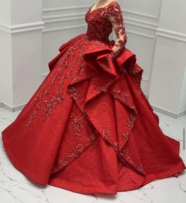 Burgundy Lace Appliques Long sleeves V-neck Ruffles Ball Gowns Evening Gowns_6