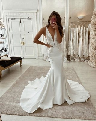 Straps Appliques V-neck Wedding Dresses | Mermaid Backless Cheap Bridal Gowns_2