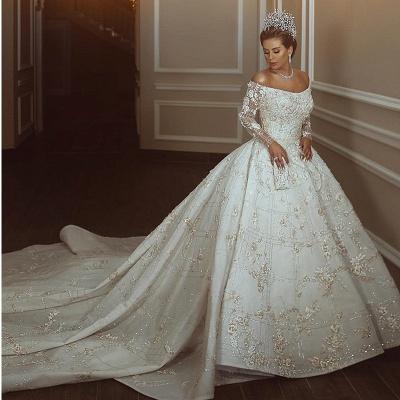 ترف الكريستال لامعة يزين الكرة بثوب الزفاف فساتين   قبالة الكتف أثواب الزفاف كم طويل_2