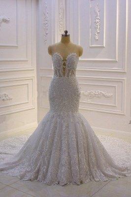 Luxury 3D Lace Applique High Neck Tulle Mermaid Wedding Dress_2