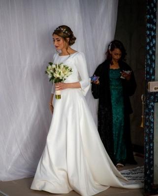 Élégantes robes de mariée à manches longues A-ligne | Appliques robes de mariée pas chères en ligne_5
