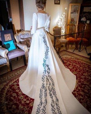 Élégantes robes de mariée à manches longues A-ligne | Appliques robes de mariée pas chères en ligne_4