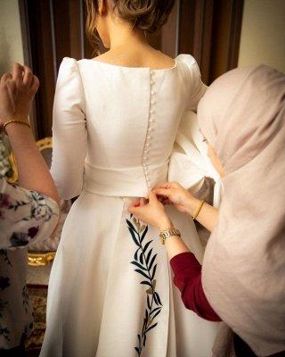 Élégantes robes de mariée à manches longues A-ligne | Appliques robes de mariée pas chères en ligne_2