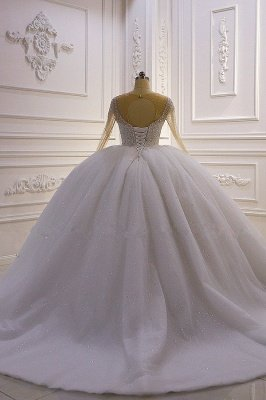 Sparkly Jewel Sequined Long Sleeves Princess Wedding Dress_3