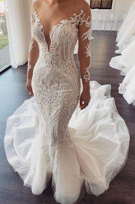 Lange Ärmel V-Ausschnitt Spitze Meerjungfrau weiß Brautkleider Online_1