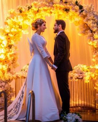Élégantes robes de mariée à manches longues A-ligne | Appliques robes de mariée pas chères en ligne_3