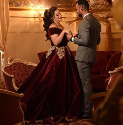 Off-the-shoulder Dark Burgundy Golden appliques Ball Gown Evening Dress_3