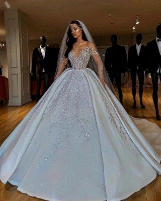 Sparkle Diamond Long sleeves Luxury Ball gown Wedding Dresses_3