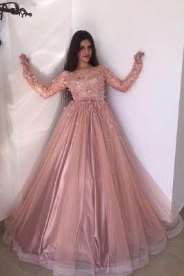 Long sleeves Floral Blow Dusty Pink Ball Gown Tulle Prom Dresses