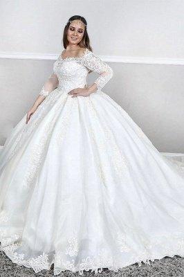 Manches longues Dentelle Col carré bouffante Robe de bal Traîne Tribunal Robes de mariée blanches_3