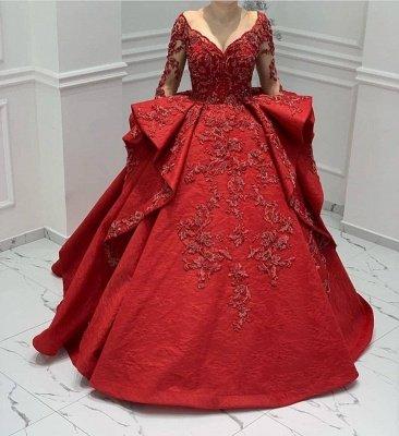 Appliques en dentelle bordeaux Manches longues Col en V Volants Robes de bal Robes de soirée_2