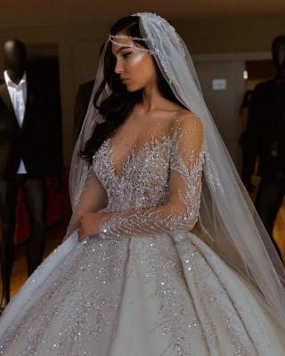 Sparkle Diamond Long sleeves Luxury Ball gown Wedding Dresses_4