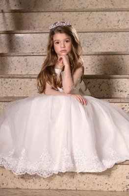 Tulle Long sleeve Puffy Princess lace Appliques Flower girl Dresses