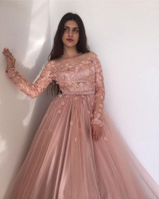 Long sleeves Floral Blow Dusty Pink Ball Gown Tulle Prom Dresses_4