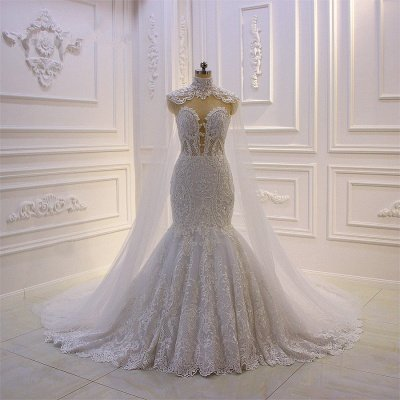 Luxury 3D Lace Applique High Neck Tulle Mermaid Wedding Dress