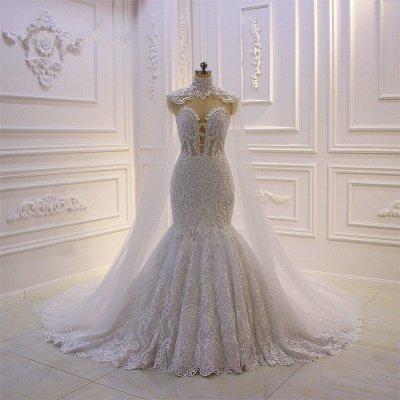 Luxus 3D Spitze Applique High Neck Tüll Meerjungfrau Brautkleid
