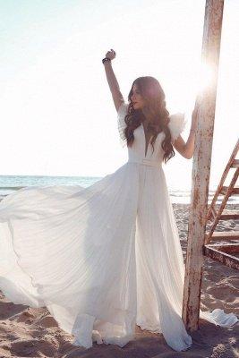 Robe de mariée en mousseline de soie à volants et encolure en V blanche_1
