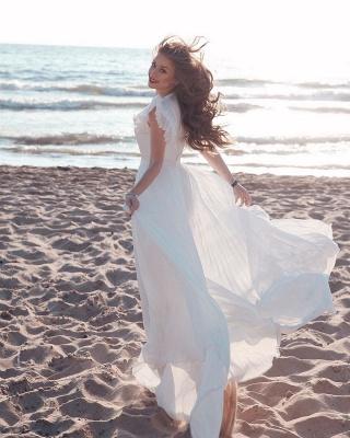 Robe de mariée en mousseline de soie à volants et encolure en V blanche_4