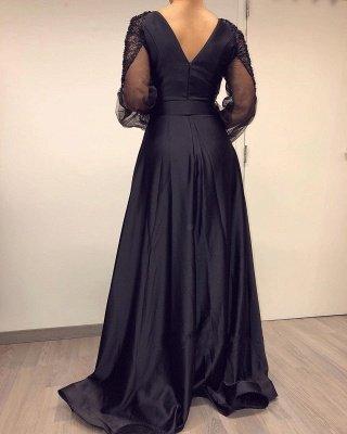 Manches longues Col en V noir à manches longues fendues Robes de soirée_3