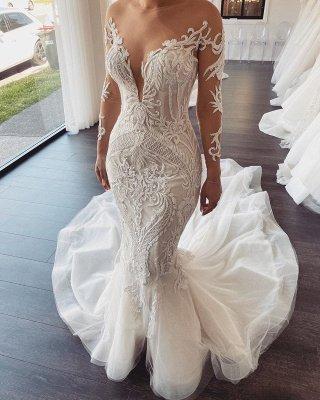 Lange Ärmel V-Ausschnitt Spitze Meerjungfrau weiß Brautkleider Online_3