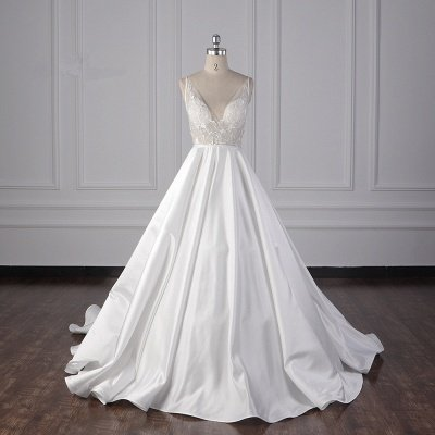 Straps Beads Appliques Ball Gown Wedding Dresses | Sexy V-neck Backless Bridal Gowns
