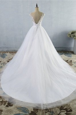 Strapless Lace Appliques Ball Gown Wedding Dresses   Sleeveless Bridal Gowns with Sweep Train_2