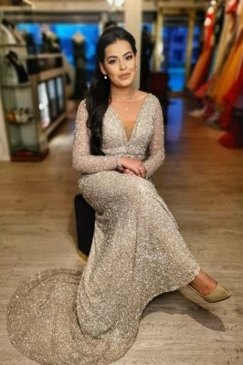 Illusion neck Sparkle V-neck Sequined Floor-length Evening Dress