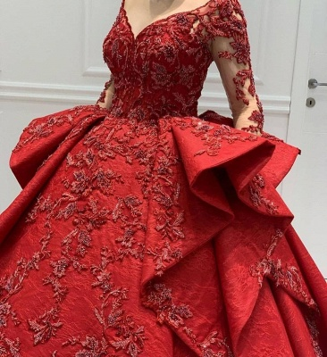 Burgundy Lace Appliques Long sleeves V-neck Ruffles Ball Gowns Evening Gowns_4