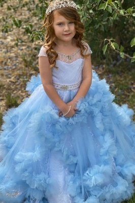 Cute Sky Blue Ruffle Cap sleeves Beaded Belt Flower Girl Dresses